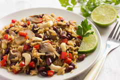 Rice with  red bean, mushrooms and vegetables Royalty Free Stock Photography