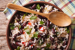 Rice with red beans in a bowl close-up on the table. horizontal. View from above stock photos
