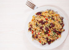 Rice with red beans and vegetables Royalty Free Stock Photo