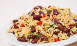 Rice with red beans and vegetables Stock Photography