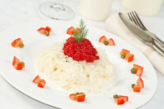 Rice with red caviar Royalty Free Stock Image