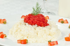Rice with red caviar Royalty Free Stock Photo