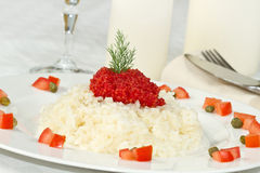Rice with red caviar Royalty Free Stock Images