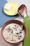 Rice red chicory and gorgonzola cheese Royalty Free Stock Images