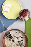Rice red chicory and gorgonzola cheese Royalty Free Stock Image