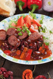 Rice and red kidney beans with sausage Stock Photos