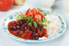 Rice and red kidney beans Royalty Free Stock Photo