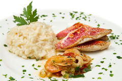 Rice with red mullet fillets and seafood Royalty Free Stock Images
