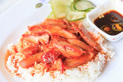 Rice red pork Stock Image