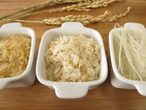 Rice, rice noodles and rice flakes Royalty Free Stock Images