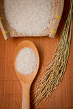 The rice in a rice scoop and bamboo basket Royalty Free Stock Photography