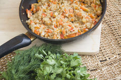 Rice risotto in a pan Stock Photo