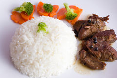 Rice with roast beef Royalty Free Stock Photography