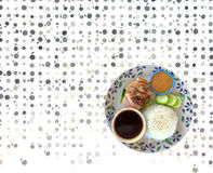 Rice with roast duck on dish Stock Image