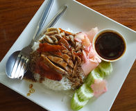 Rice with roast duck. Food sauce cucumber Royalty Free Stock Images