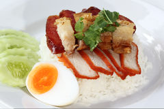 Rice with roasted pork Royalty Free Stock Image