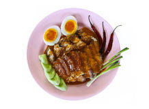 Rice with roasted pork. Rice with roasted pork, crispy pork and boiled egg Stock Images