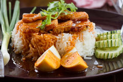 The Rice with roasted pork. Royalty Free Stock Photography