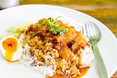 Rice with roasted pork. Thai food Stock Images