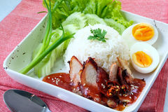 Rice with roasted pork Royalty Free Stock Photos