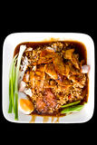 Rice with roasted pork in Thai style, Isolated Royalty Free Stock Photo