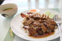 Rice roasted red pork Stock Photo