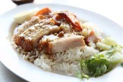Rice roasted red pork Stock Photos