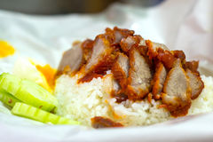 Rice with roasted red pork Royalty Free Stock Images