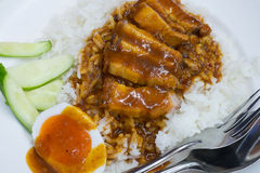 Rice roasted red pork Stock Images