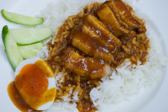 Rice roasted red pork Royalty Free Stock Images