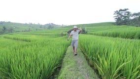 Rice sätter in Man som framme går av kamera man för bali town för solnedgång för form för härlig indonesia ökuta synlig running lager videofilmer