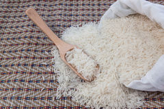 Rice in sack on mat Stock Images