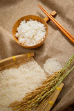 Rice on sackcloth Stock Images