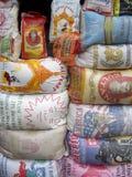 Rice sacks in Ghanaian market Royalty Free Stock Image