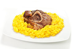 Rice with saffron and bovine meat Stock Image