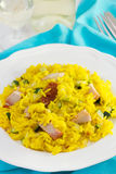 Rice with saffron, pork and vegetables Stock Photography