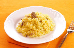 Rice with saffron and sausage Royalty Free Stock Images