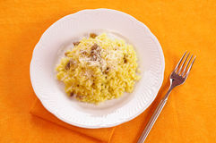 Rice with saffron and sausage with fork Stock Photography
