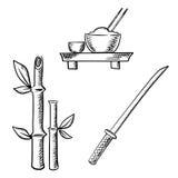 Rice, sake, bamboo and samurai katana Royalty Free Stock Images