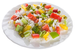 Rice salad. Rice with vegetables in white bowl Royalty Free Stock Photos