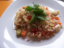 Rice salad. Mixed vegetable rice salad with cheese Stock Photo