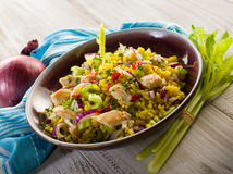 Rice salad with chicken Stock Images