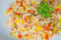 Rice salad with corn and vegetables Royalty Free Stock Photo