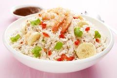 Rice Salad with Prawn or Shrimp and Banana. Rice salad with a mango vinaigrette dressing. Salad includes prawn or shrimp, roast chicken, banana, tomato and Stock Photos
