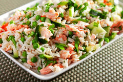 Rice salad with salmon Stock Photos