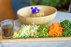 Rice salad set on wood plate, Khao yam, Thai cuisine Royalty Free Stock Photos