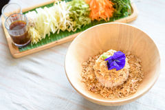Rice salad set on wood plate, Khao yam, Thai cuisine Royalty Free Stock Photo