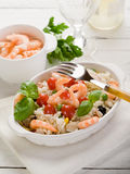 Rice salad with shrimp. And tomatoes Stock Images