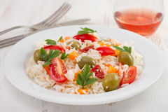 Rice salad with tomato and olives Royalty Free Stock Photo