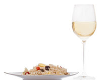 Rice salad and wine Royalty Free Stock Photo